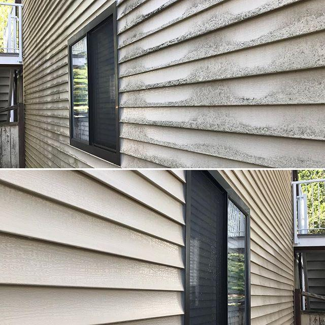 Exterior Siding Cleaning before and after